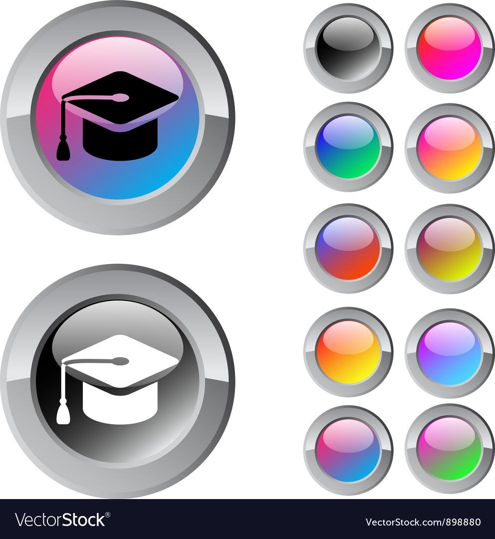 Graduation multicolor round button vector   Price: 1 Credit (USD $1)