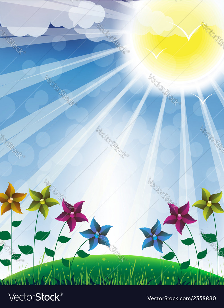 Hot sun and flowers vector | Price: 1 Credit (USD $1)