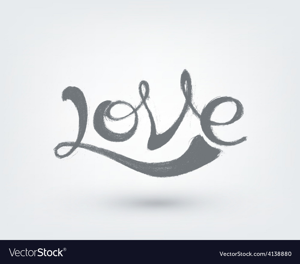 Love text design hand drawn word on white vector   Price: 1 Credit (USD $1)