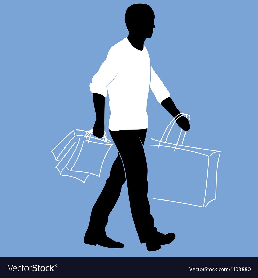 Man with shopping bags vector | Price: 1 Credit (USD $1)