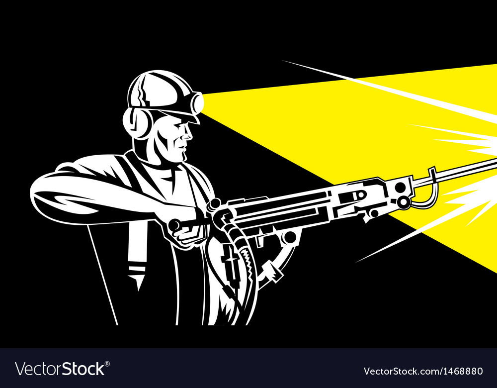 Miner with jack leg drill vector | Price: 1 Credit (USD $1)