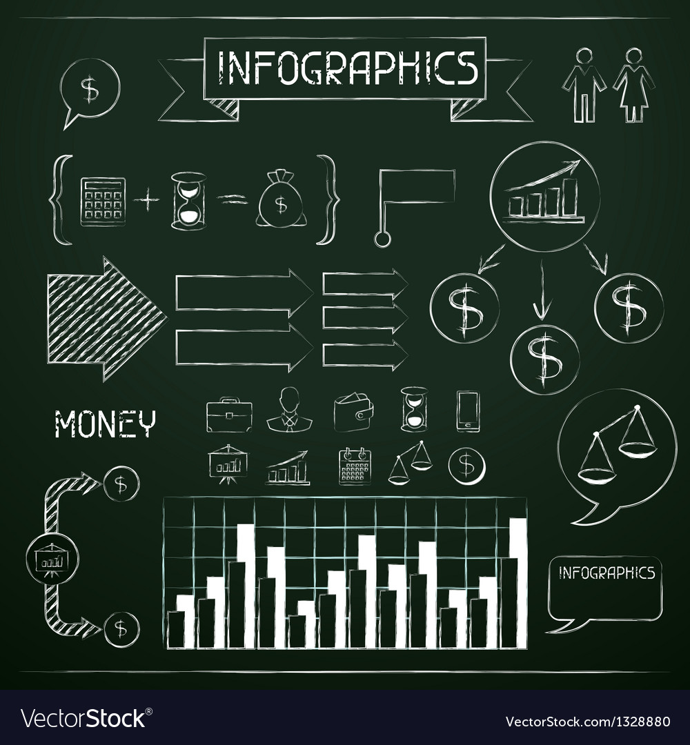 Set of chalkboard infographics and business icons vector | Price: 1 Credit (USD $1)