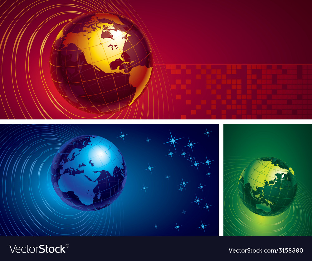 Three globes vector | Price: 1 Credit (USD $1)