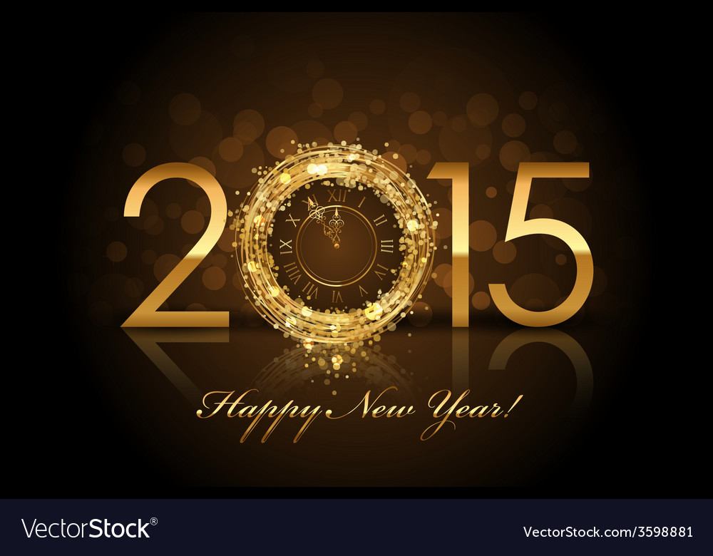 2015 happy new year background with gold clock vector | Price: 1 Credit (USD $1)