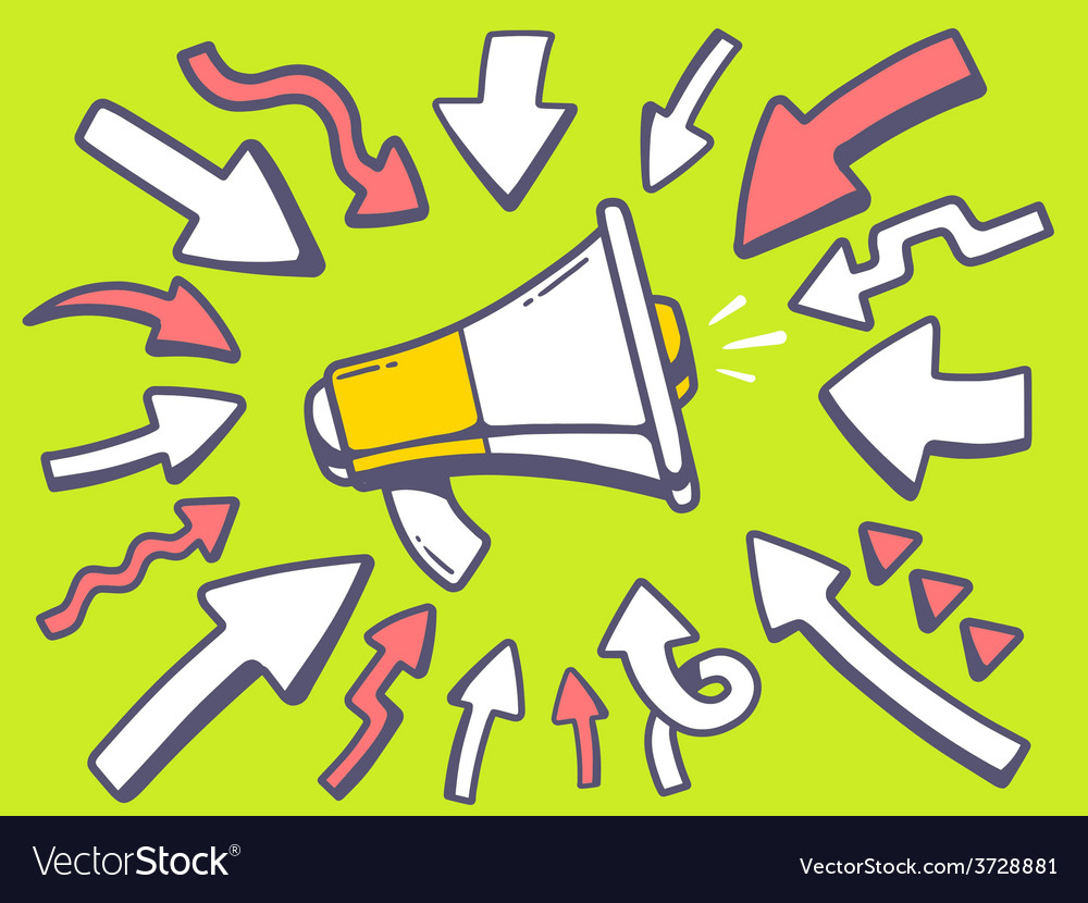 Arrows point to icon of megaphone on gree vector   Price: 1 Credit (USD $1)