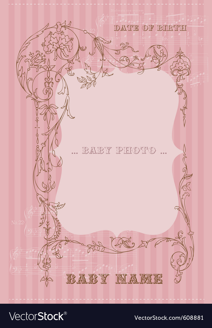 Beautiful arrival vintage card - with place for yo vector | Price: 1 Credit (USD $1)