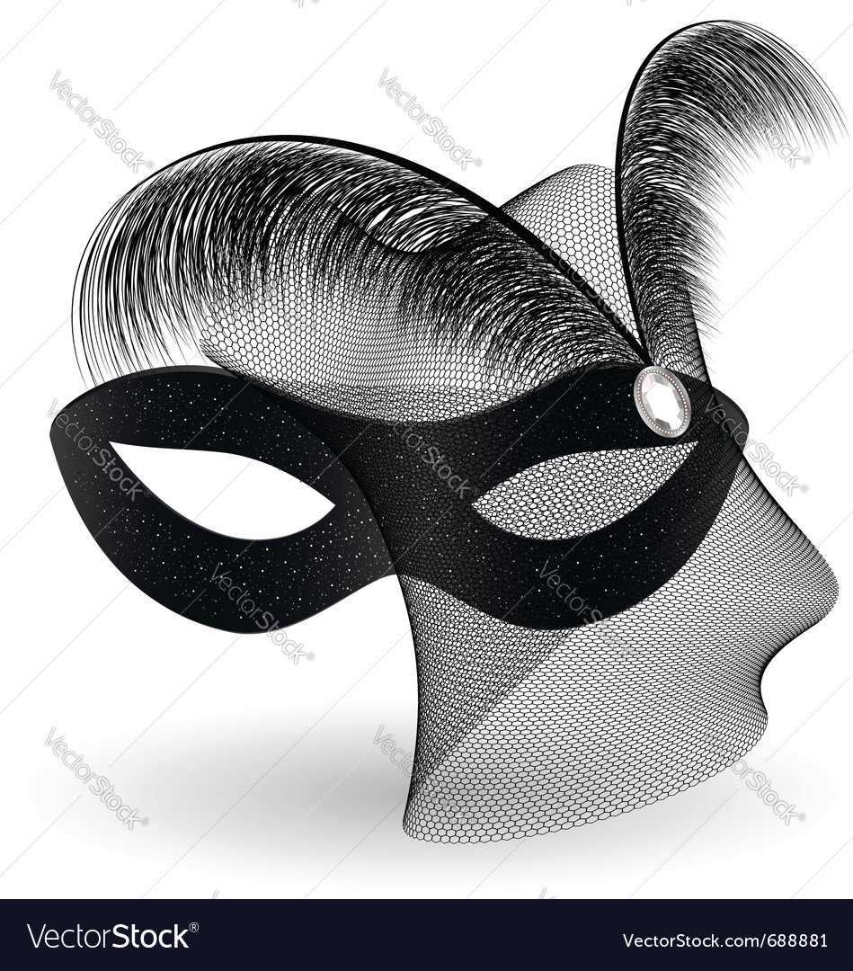 Black carnival half-mask and feathers vector | Price: 1 Credit (USD $1)