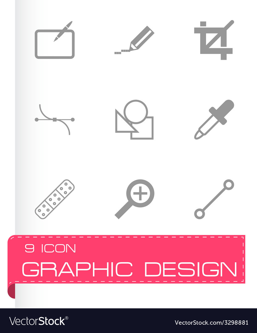 Black graphic design icons set vector | Price: 1 Credit (USD $1)