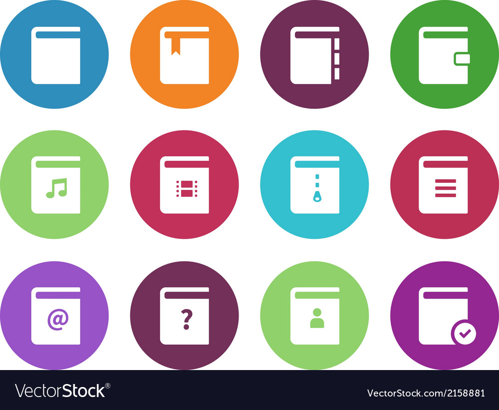 Book circle icons on white background vector | Price: 1 Credit (USD $1)