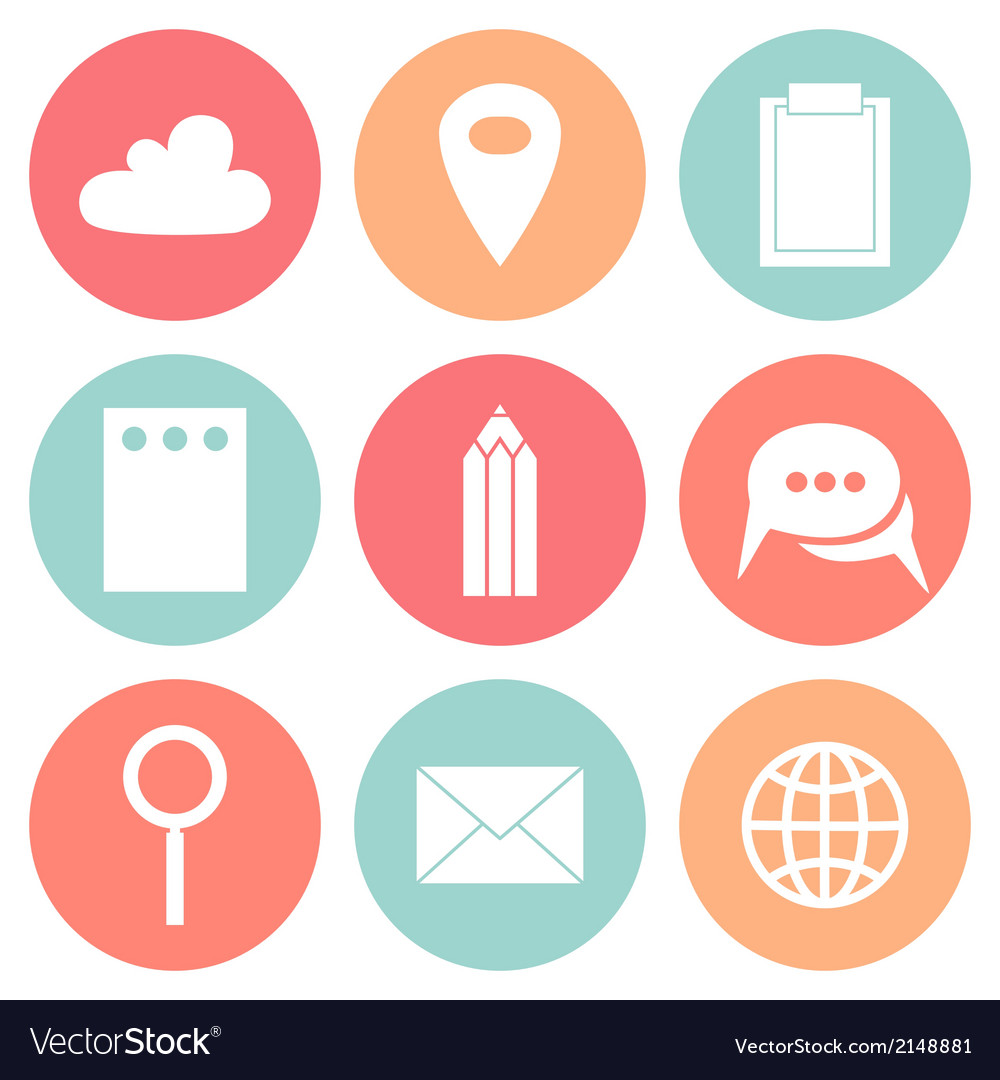 Business flat circle icons vector | Price: 1 Credit (USD $1)