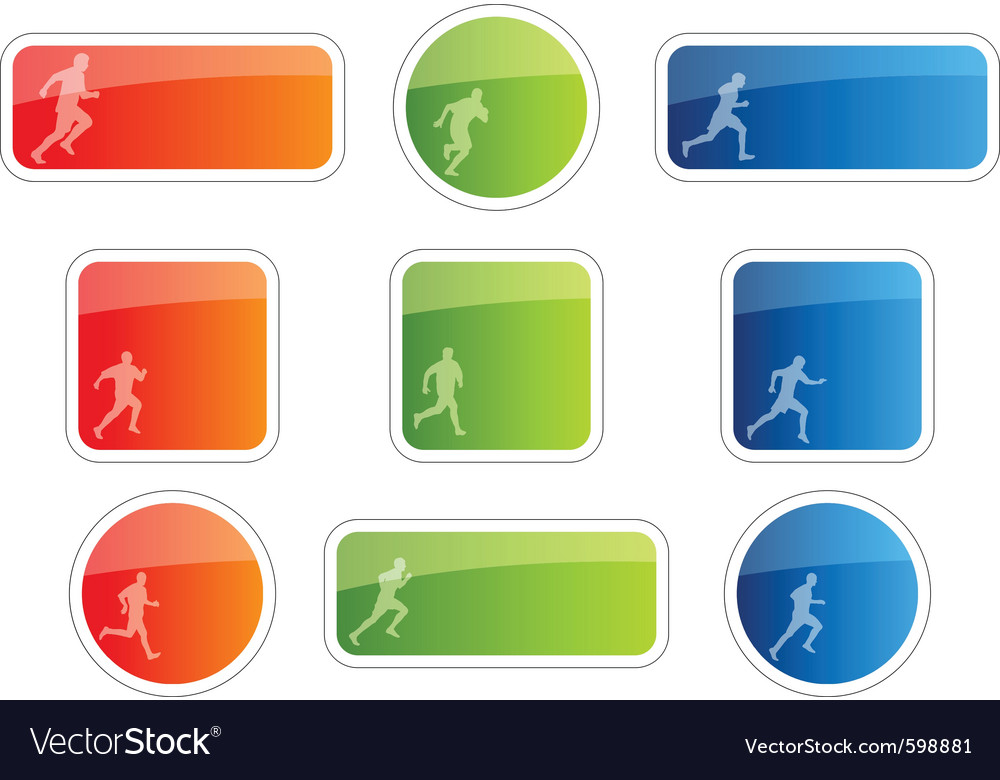 Color stickers with runner symbol vector | Price: 1 Credit (USD $1)