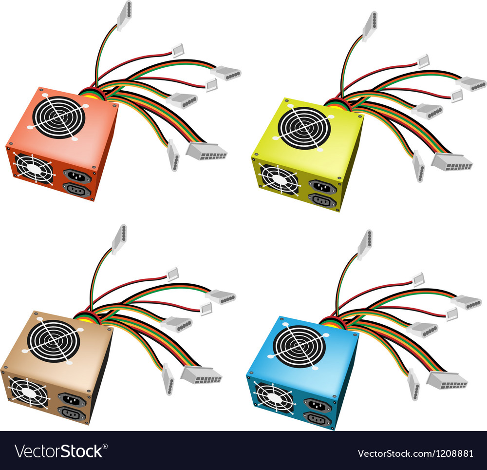 Colorful set of power supply box vector | Price: 1 Credit (USD $1)