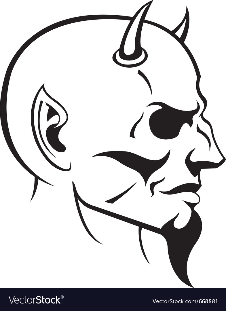 Devils head profile vector | Price: 1 Credit (USD $1)