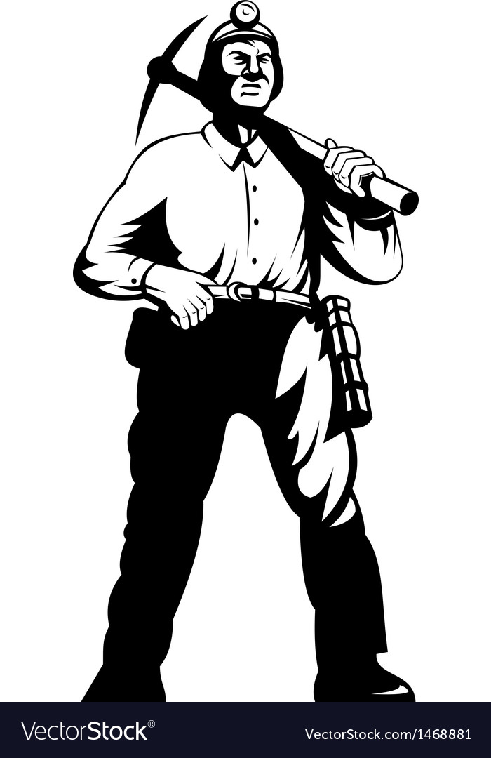 Miner with with pick axe walking vector | Price: 1 Credit (USD $1)