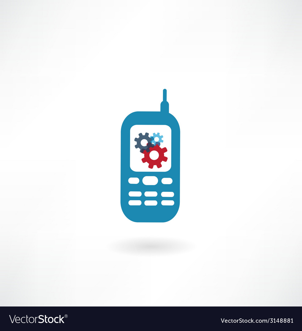 Mobile with cogs icon vector | Price: 1 Credit (USD $1)
