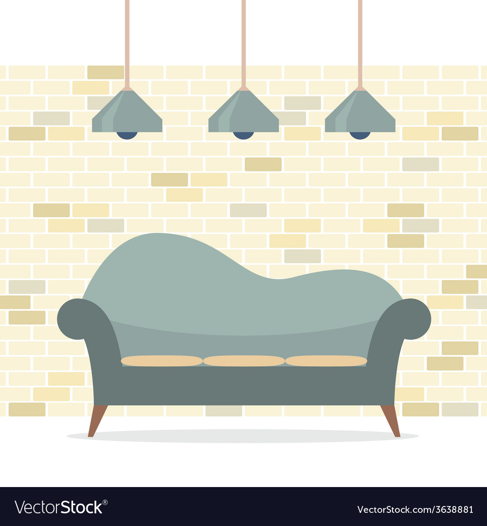 Modern flat design sofa interior vector | Price: 1 Credit (USD $1)
