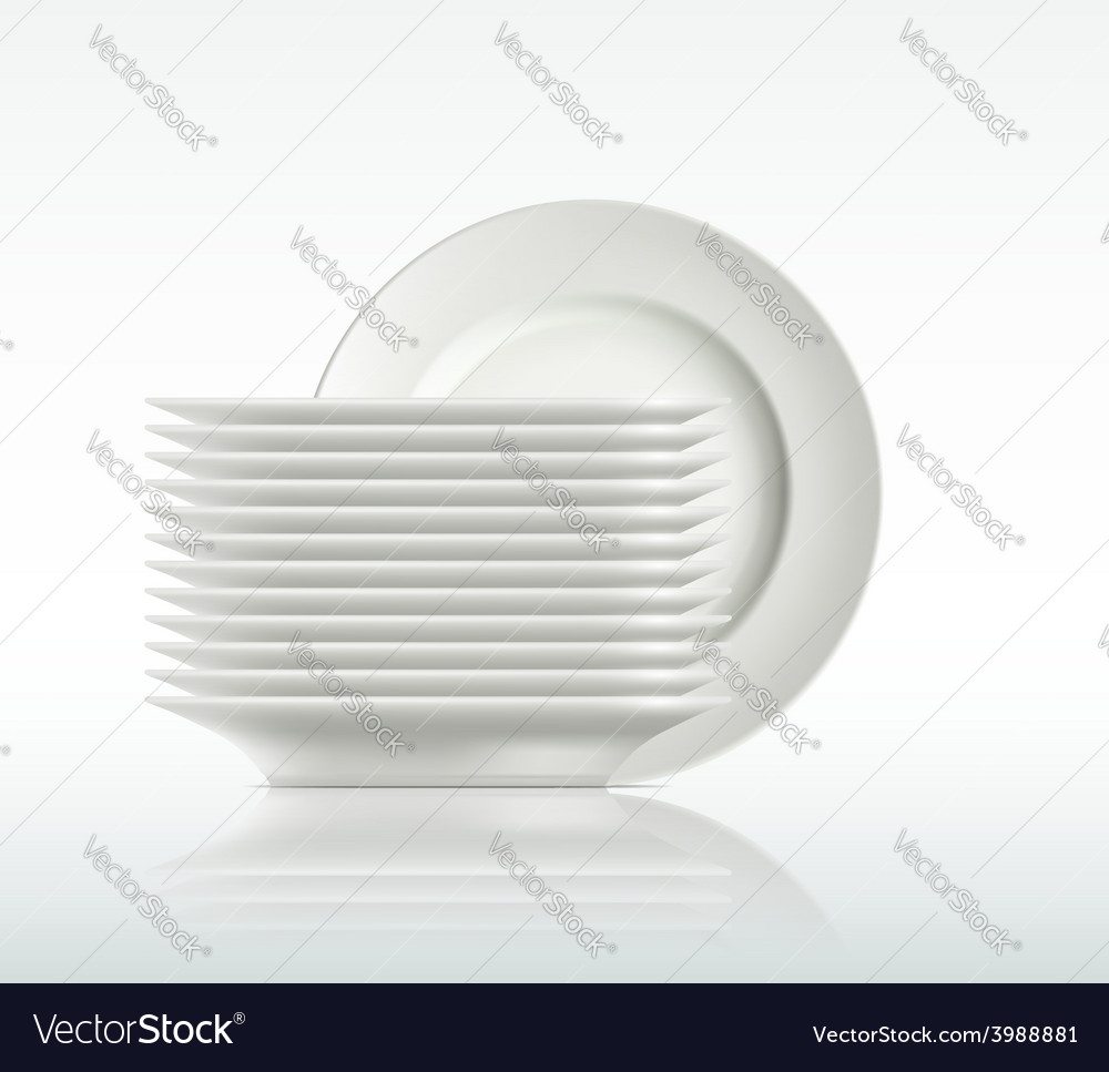 Porcelain plates on a white background vector | Price: 1 Credit (USD $1)