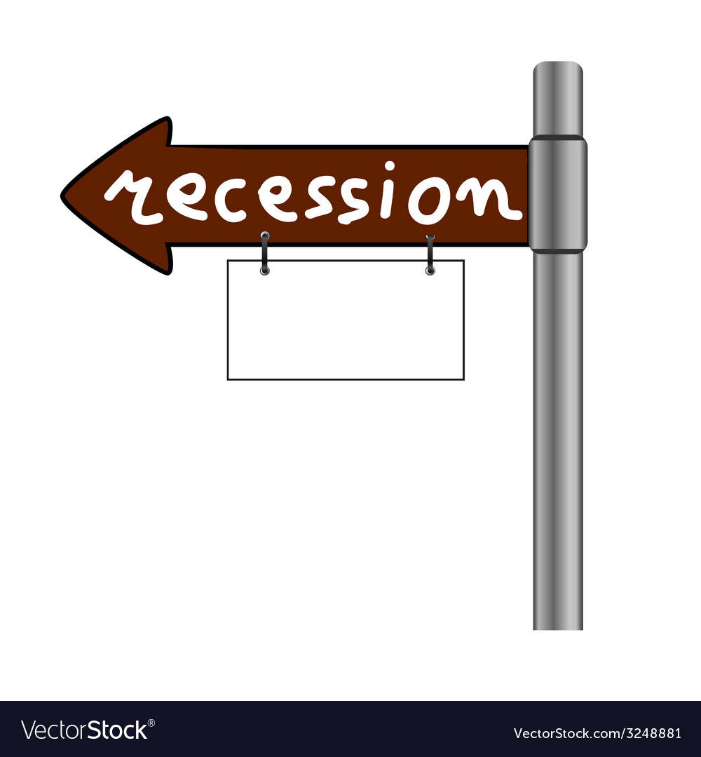 Recession on signboard color vector | Price: 1 Credit (USD $1)