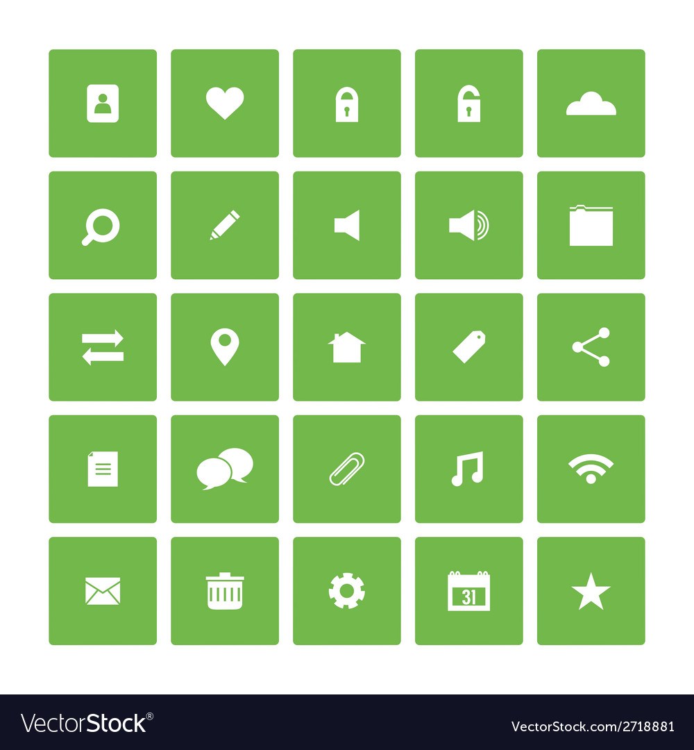 Square flat website icons set vector   Price: 1 Credit (USD $1)