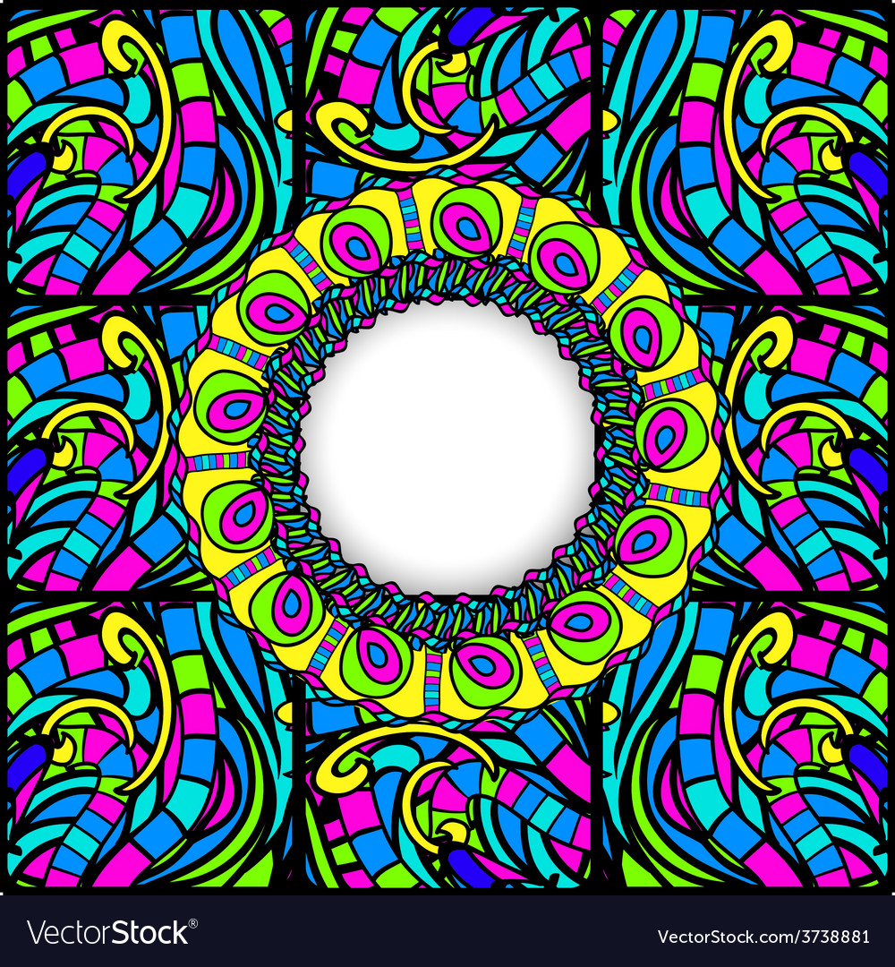 Stained-glass abstract round frame vector | Price: 1 Credit (USD $1)
