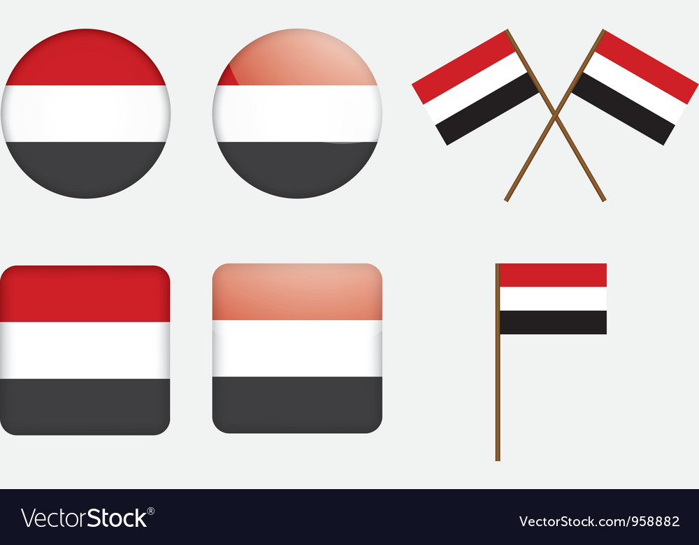 Badges with flag of yemen vector | Price: 1 Credit (USD $1)