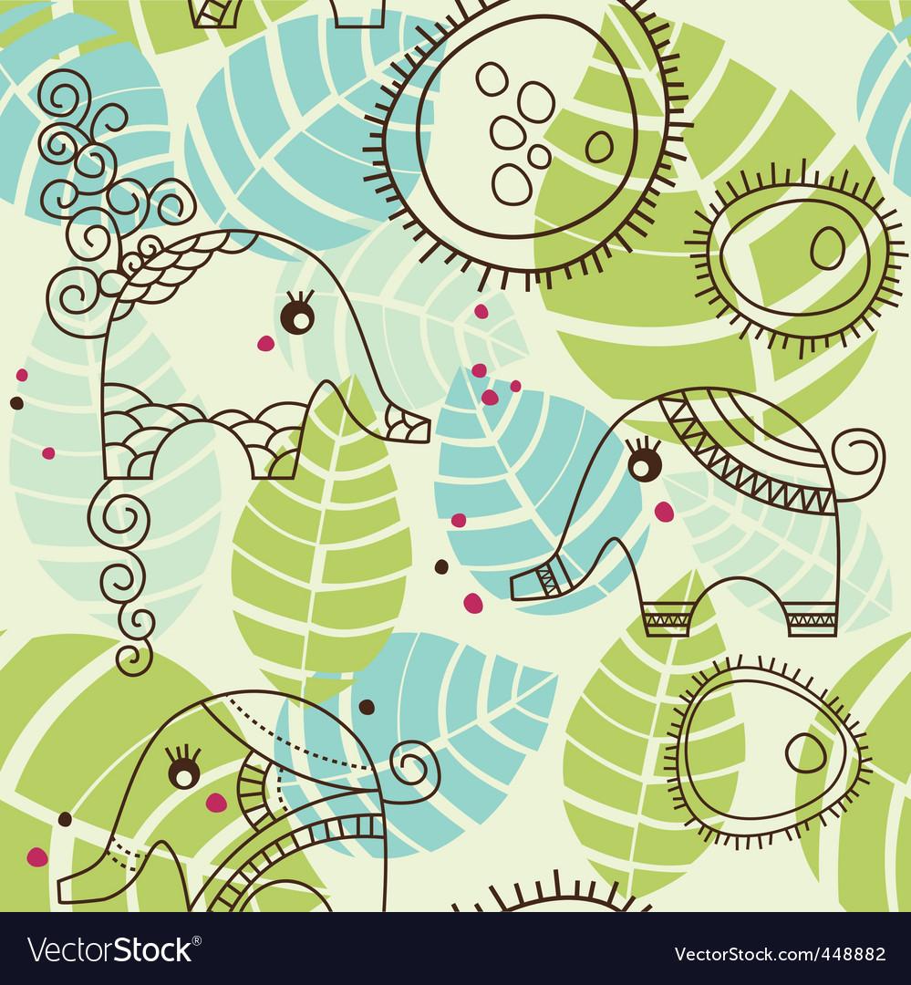 Cartoon elephants pattern vector | Price: 1 Credit (USD $1)