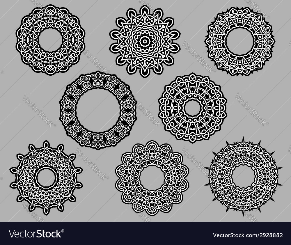 Circle vignette lace ornaments vector | Price: 1 Credit (USD $1)