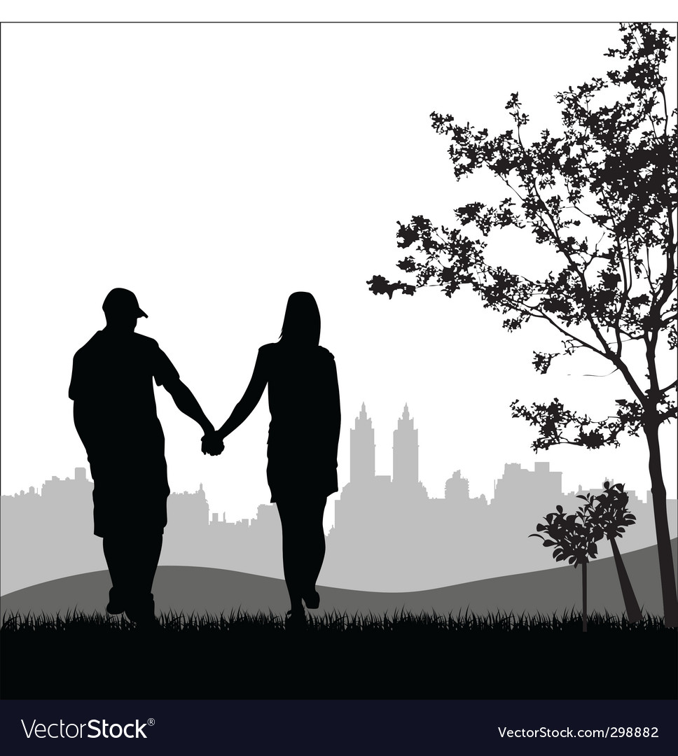 Couple outdoors vector | Price: 1 Credit (USD $1)