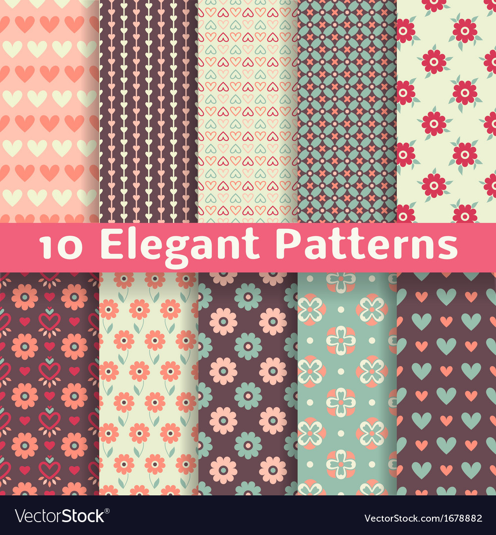 Elegant romantic seamless patterns tiling retro vector | Price: 1 Credit (USD $1)