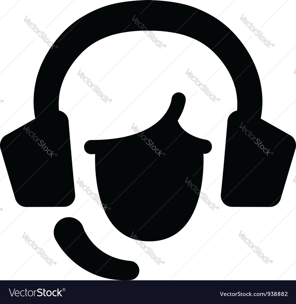 Face with headset vector | Price: 1 Credit (USD $1)