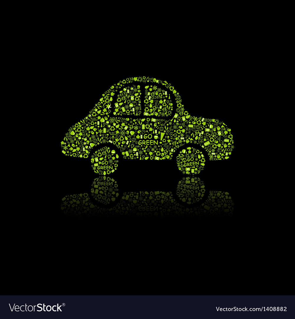 Green car icon pollution concept vector | Price: 1 Credit (USD $1)