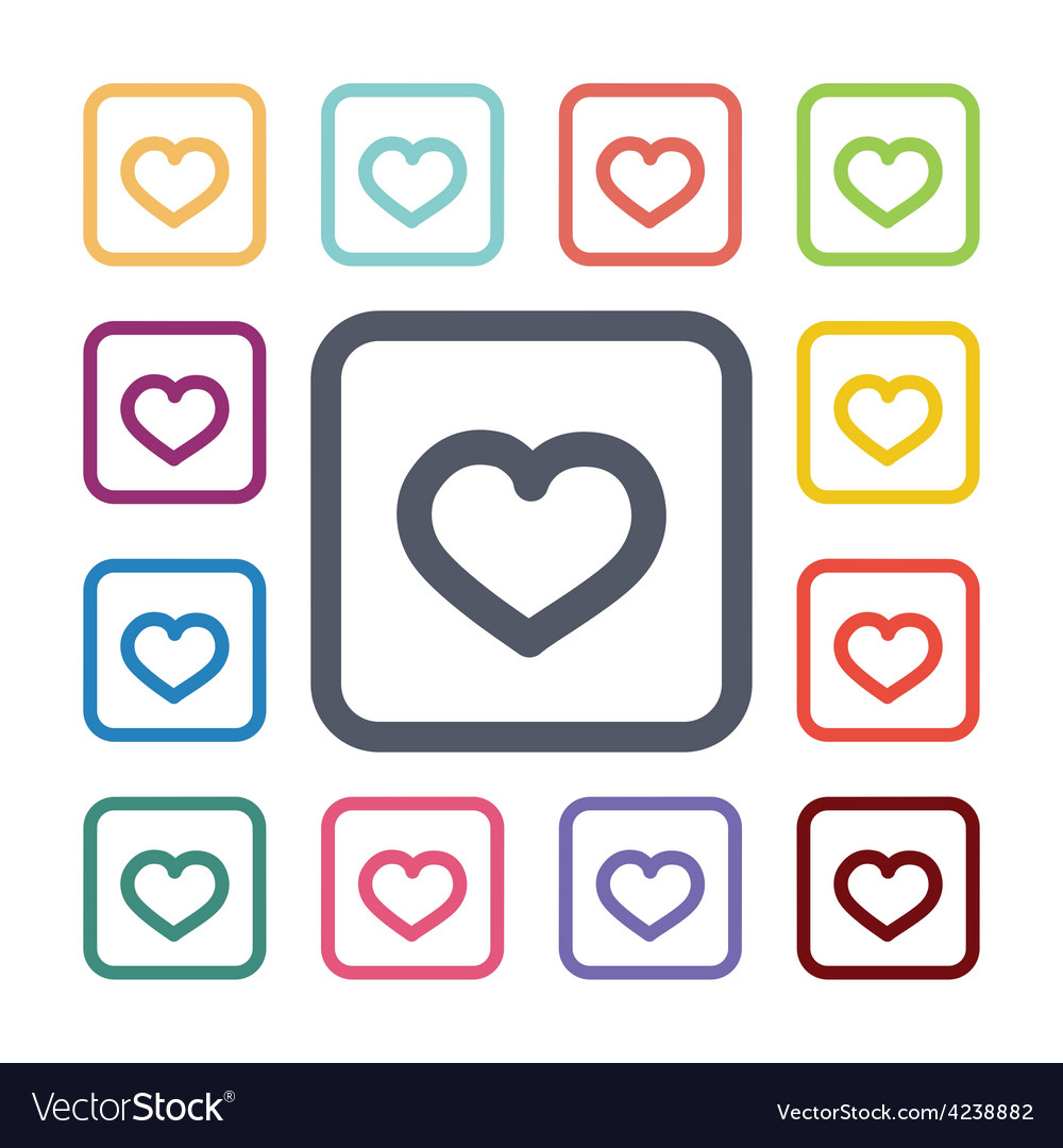 Heart flat icons set vector | Price: 1 Credit (USD $1)