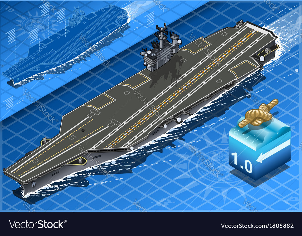 Isometric aircraft carrier in navigation in front vector | Price: 1 Credit (USD $1)