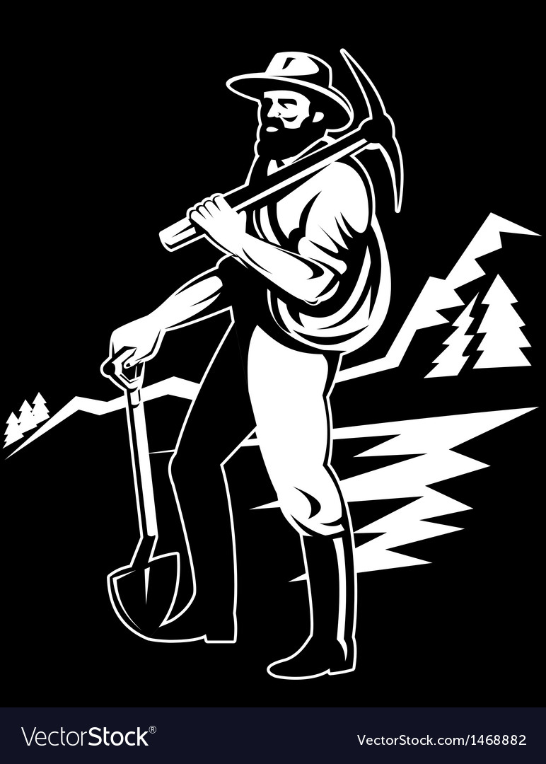 Miner with with pick axe and shovel vector | Price: 1 Credit (USD $1)