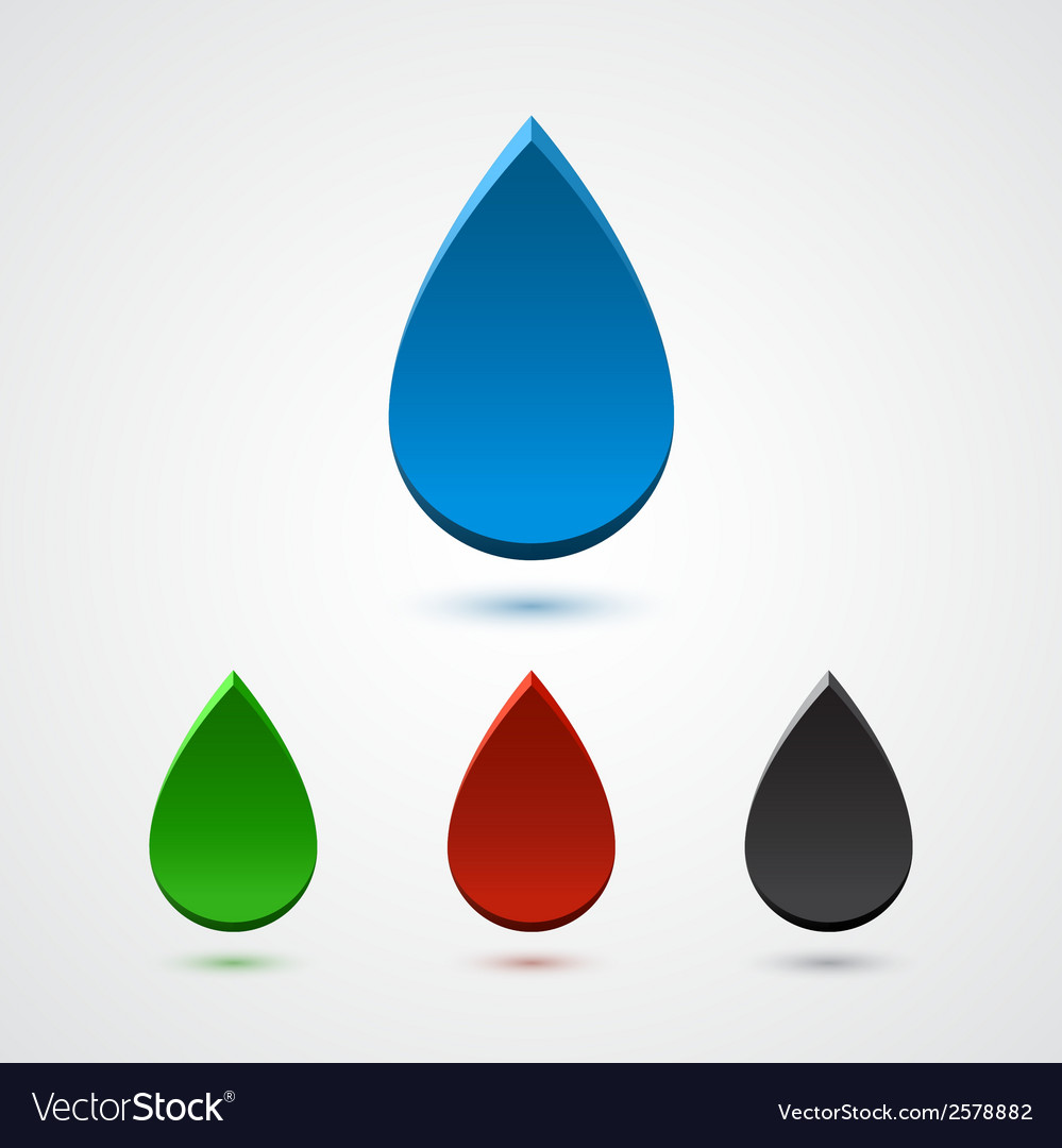 Set of abstract 3d colorful drops vector | Price: 1 Credit (USD $1)