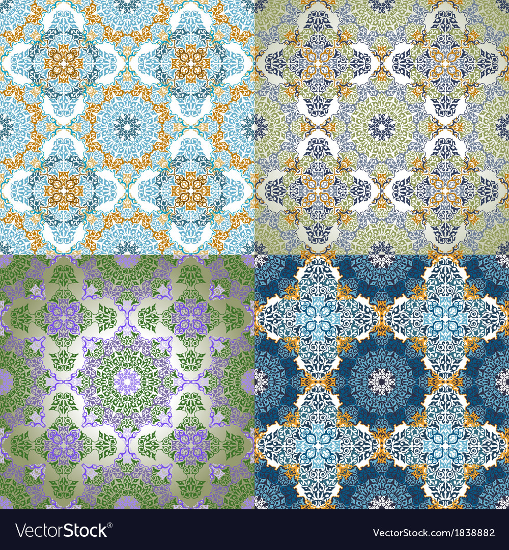 Set of seamless pattern in islamic style vector | Price: 1 Credit (USD $1)