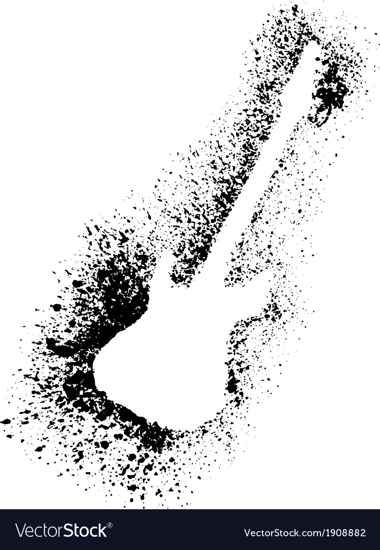 Silhouette of guitar with grunge black splashes vector | Price: 1 Credit (USD $1)