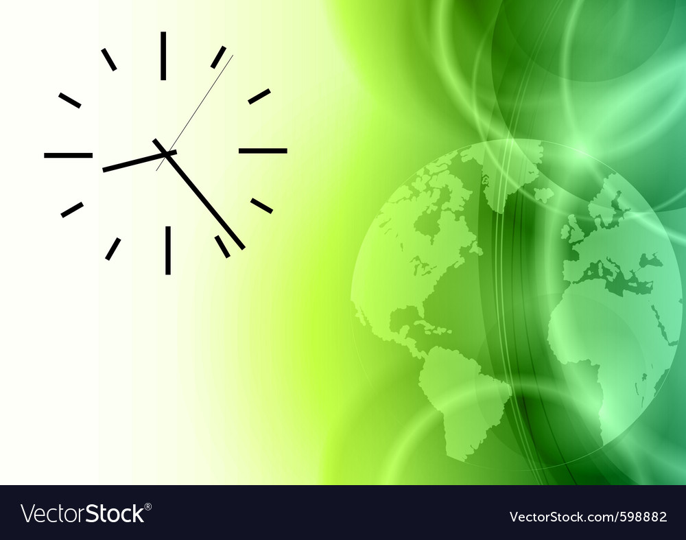 Time on the green abstract world vector | Price: 1 Credit (USD $1)