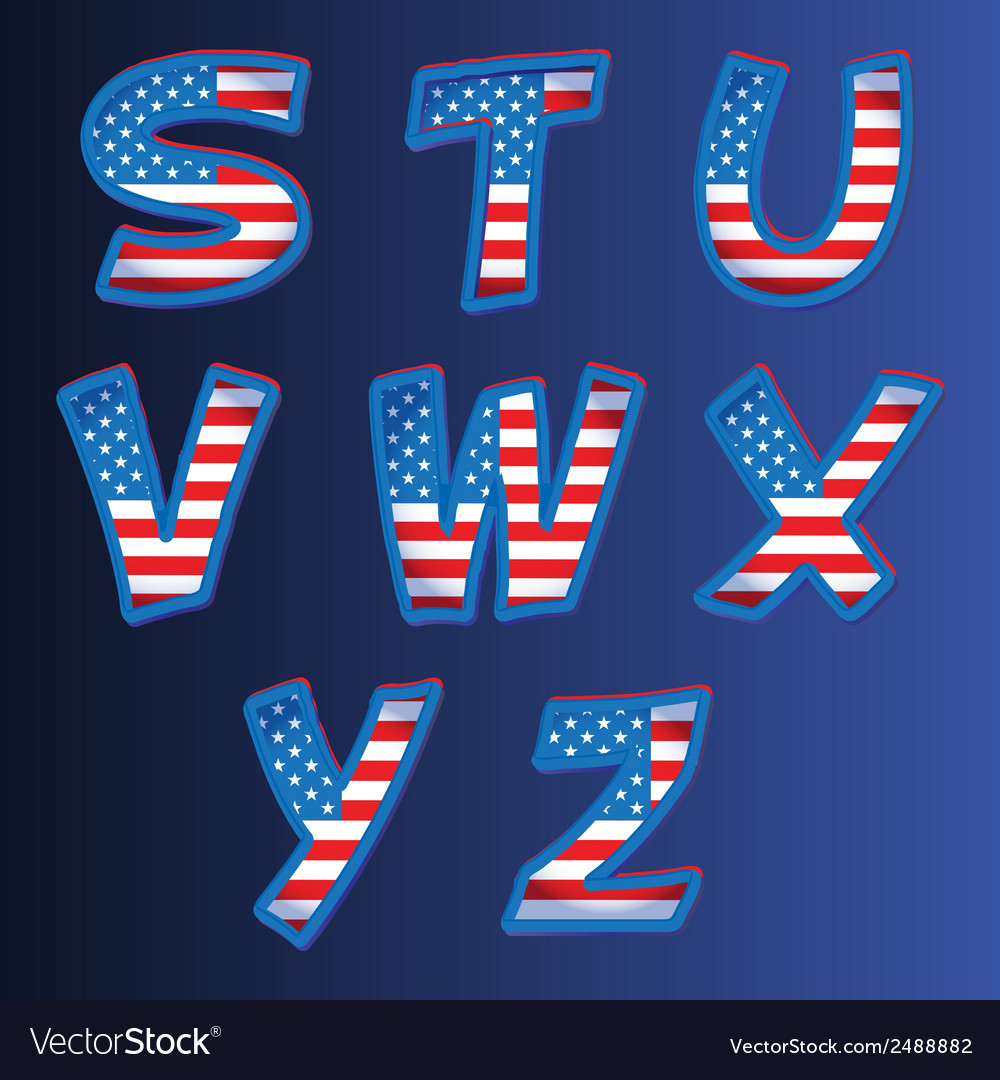 Usa alphabet on a blue background vector | Price: 1 Credit (USD $1)