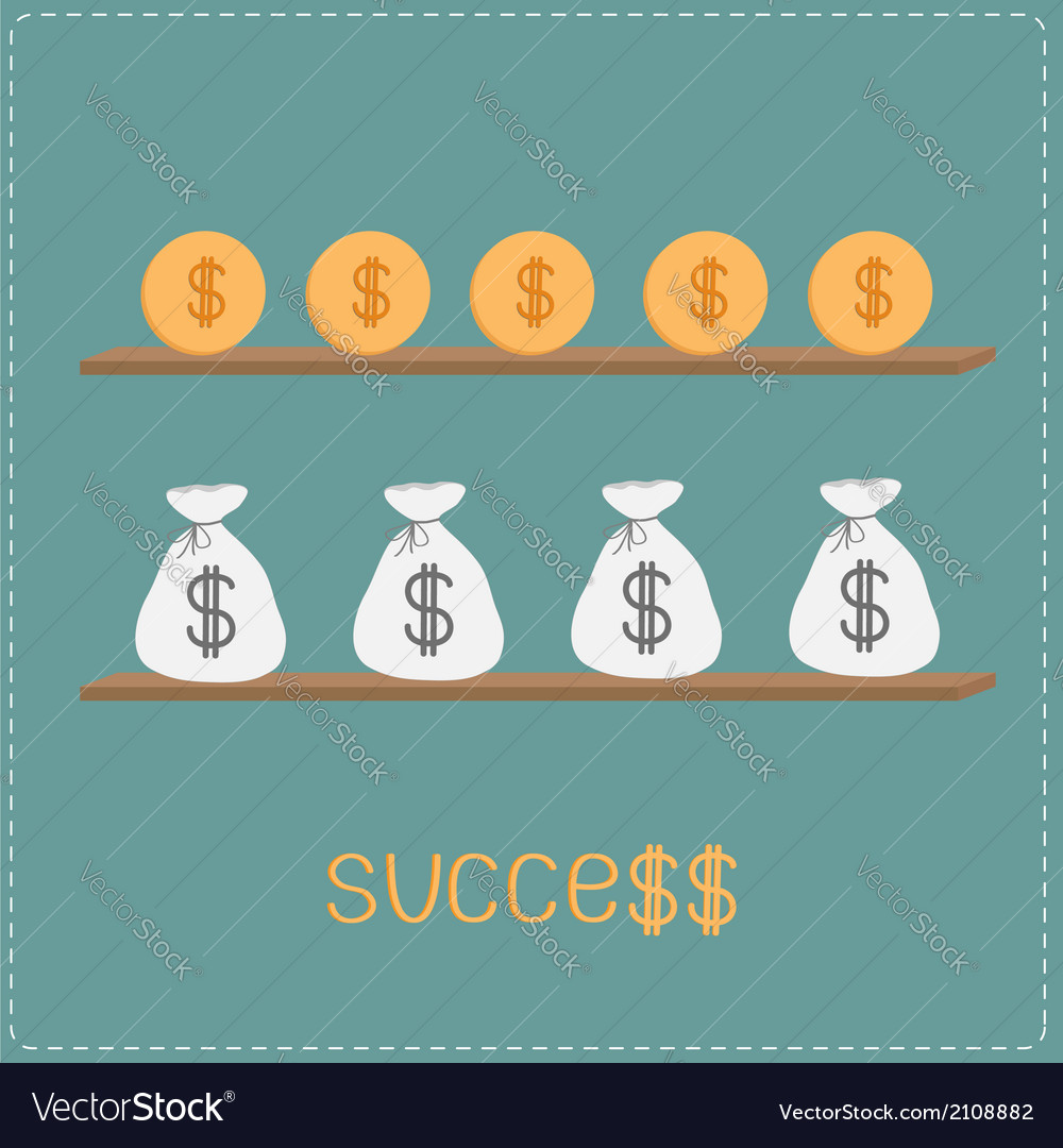 Wooden shelf with money bags coins word success vector | Price: 1 Credit (USD $1)