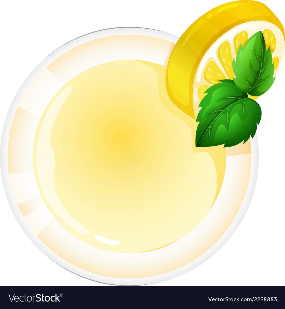 A topview of a glass with a lemon juice vector | Price: 1 Credit (USD $1)