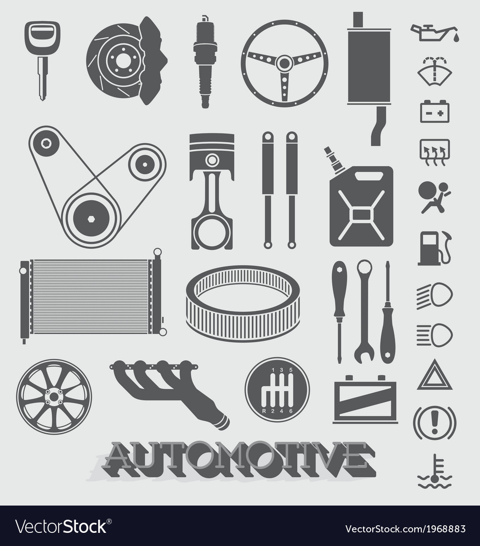 Automotive parts and icons vector | Price: 1 Credit (USD $1)