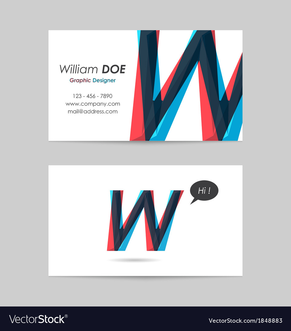 Business card template - letter w vector | Price: 1 Credit (USD $1)