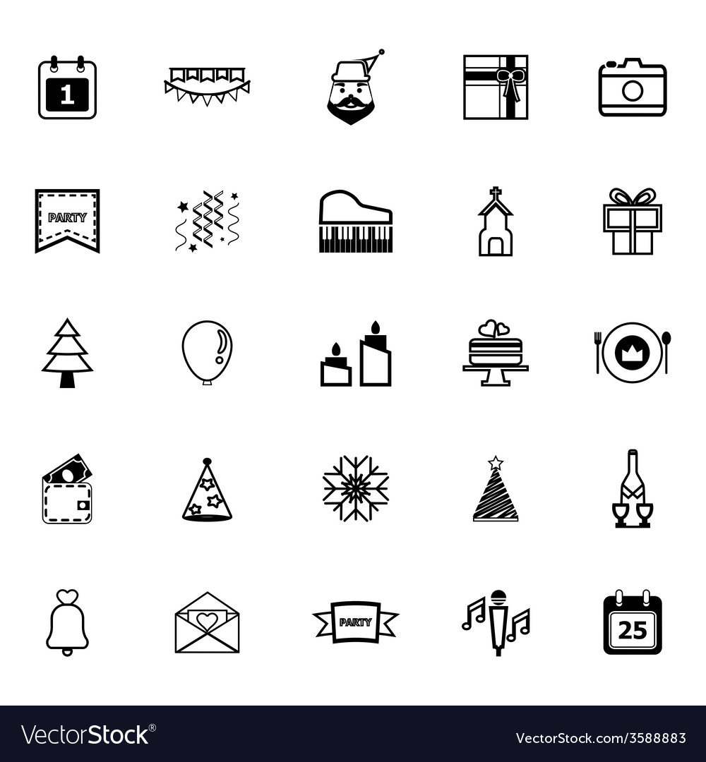 Christmas and new year line icons on white vector | Price: 1 Credit (USD $1)