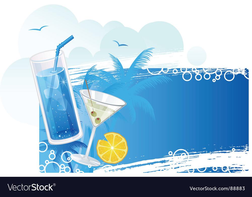 Cocktails banner blue vector | Price: 3 Credit (USD $3)