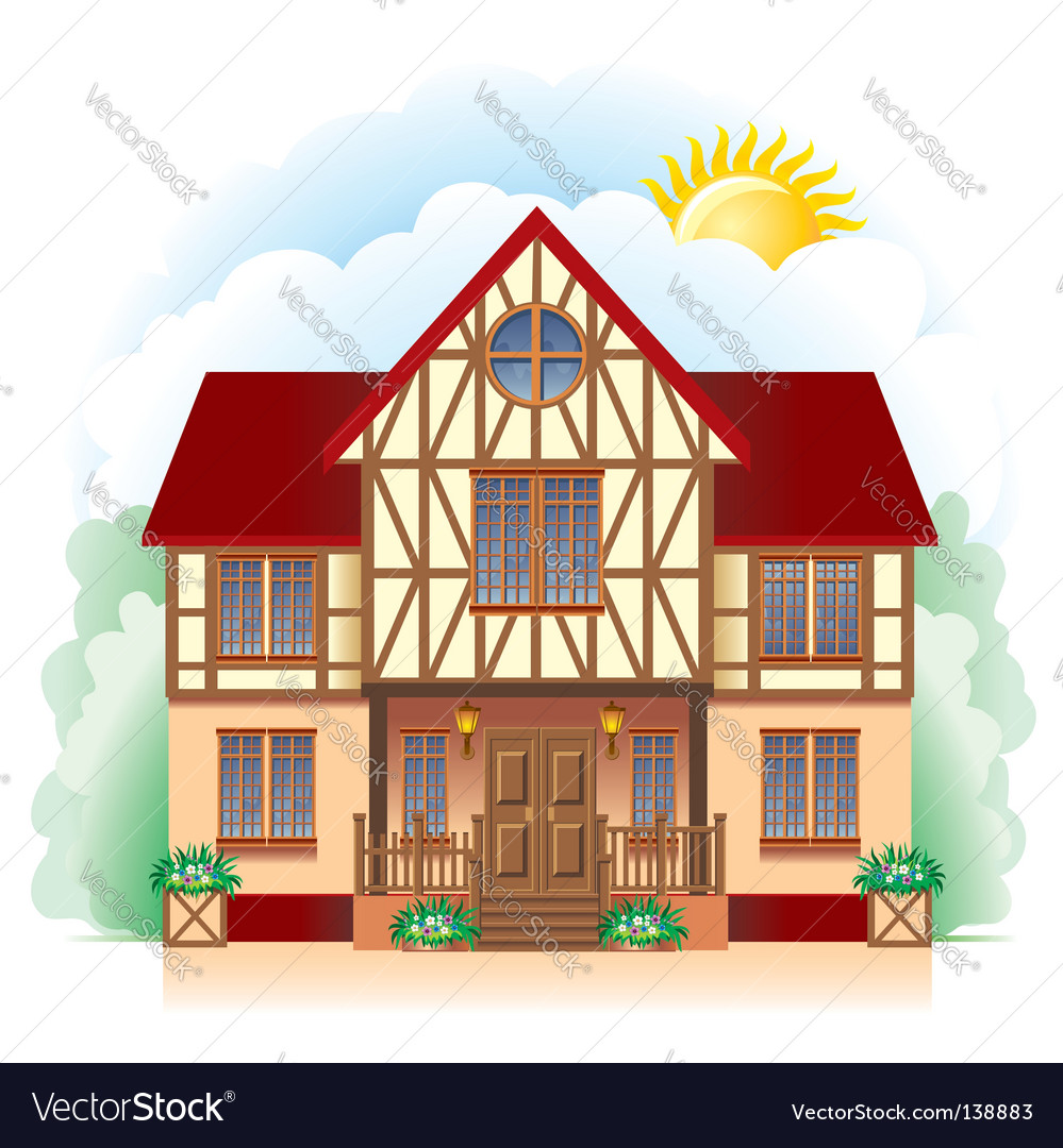 Cottage detailed drawing vector | Price: 1 Credit (USD $1)