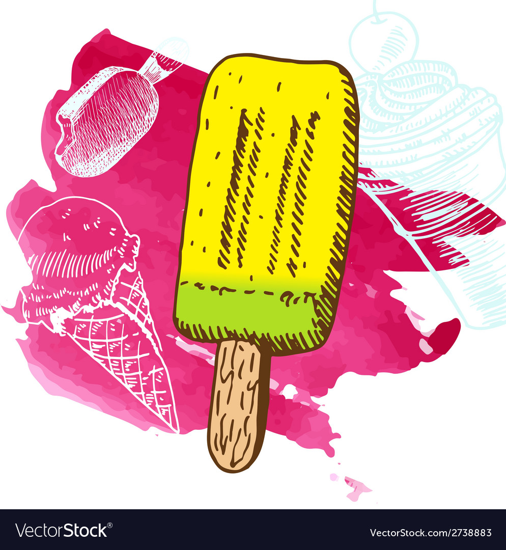 Doodle ice cream frozen dessert style sketch vector | Price: 1 Credit (USD $1)