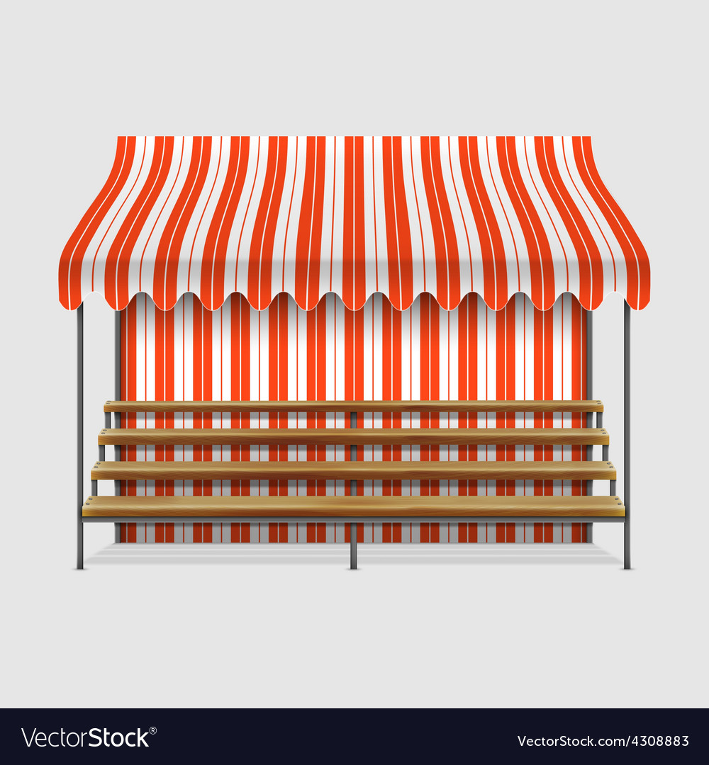 Market stall with wooden shelves vector | Price: 3 Credit (USD $3)