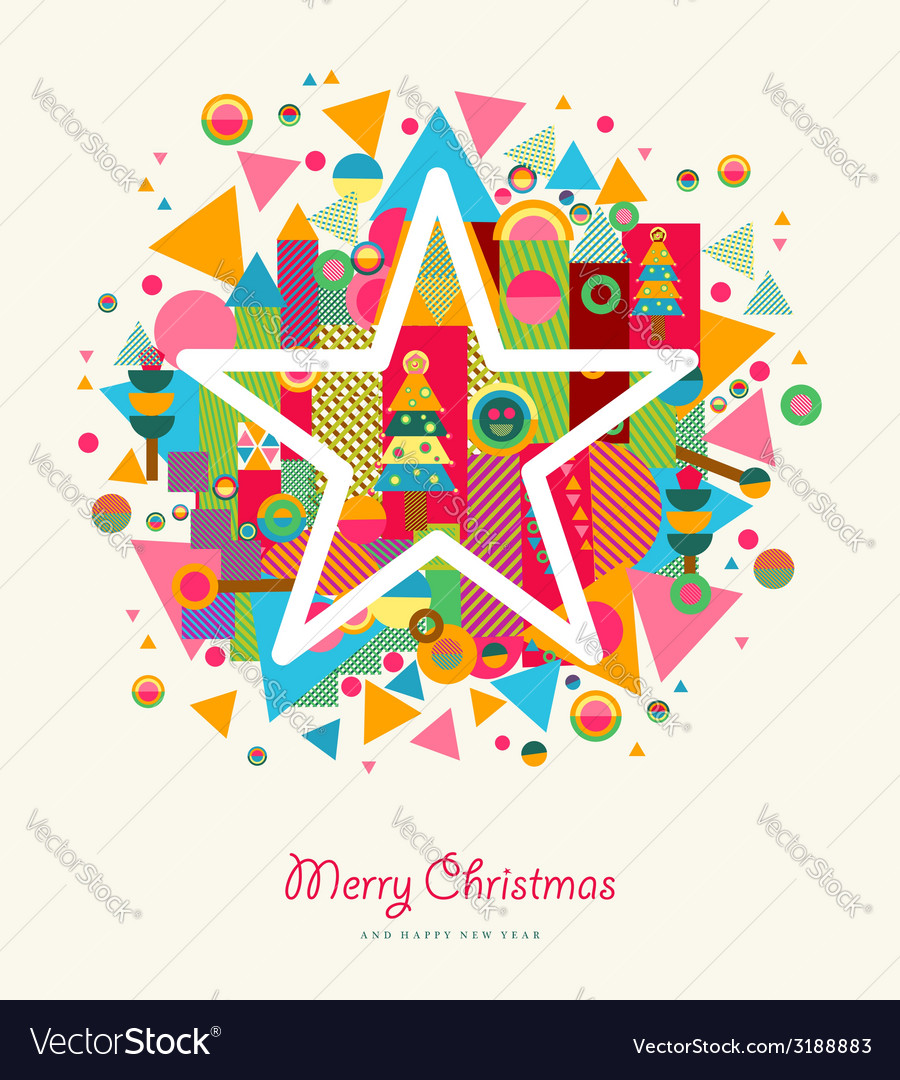 Merry christmas abstract colorful retro star vector | Price: 1 Credit (USD $1)