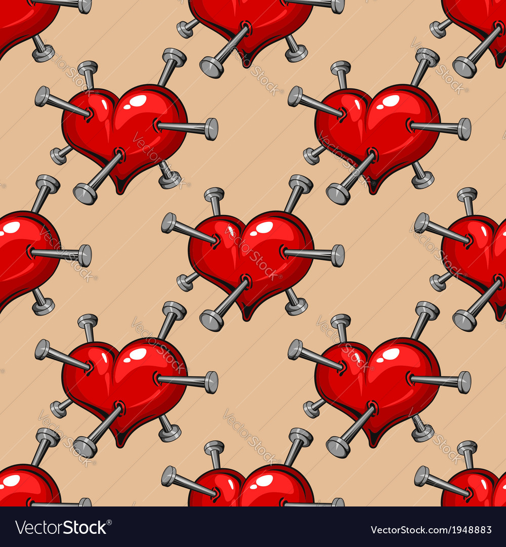 Seamless pattern of hearts studded with nails vector | Price: 1 Credit (USD $1)